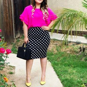 Polka-dote Pencil Skirt